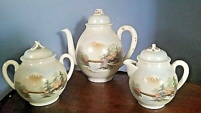 Vintage NIPPON Japan Hand Painted Porcelain Teapot w/covered Cream & Sugar 1930s