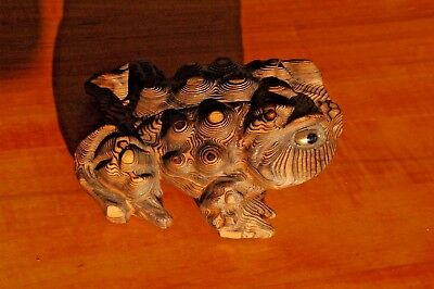 """Large Vintage Japanese Hand Carved Wood Cryptomeria Bumpy """"Horny Toad"""" Figure"""