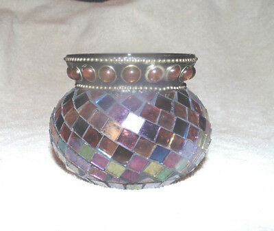 Partylite Global Fusion Votive Holder - P8367 - Mosaic stained glass tea lite