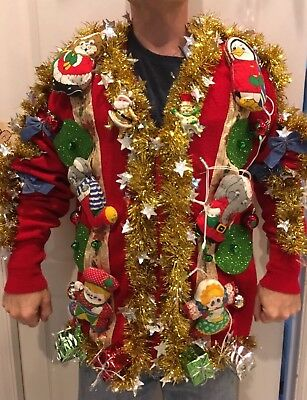 Ugly Christmas Sweater SANTA Misfit Toys LIGHTS UP! CRazY Contest Hideous