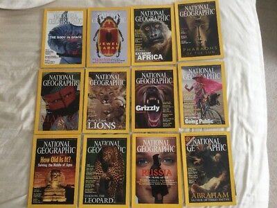 2001 National Geographic Magazines Complete Year Lot of 12