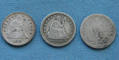 *very Nice Lot Of Seated Liberty Quarters 1876, 1854, 1873-S - Estate Fresh*