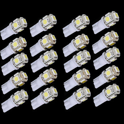 20PCS/set Bright Car Side Wedge Light Lamp Bulb White T10 5050 W5W 5 SMD LED