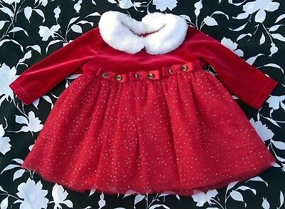 Bonnie Baby Holiday Sparkle Santa Dress Red & White ~ Infant Girl Size 3-6 mos.