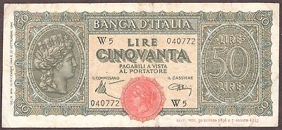 Italy 1944 - 50 Lire - Replacement Note - Pick 74 - W5 Prefix - Circulated