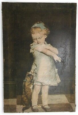 ANTIQUE 19th Century Little Girl Playing with her cat Oil Painting on Canvas