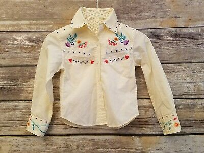 Vintage Popsicle Brand Girls Toddler Western Long Sleeve Button Up Floral Size 2