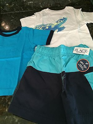 THE CHILDRENS PLACE Baby Boy Swim Shorts & Shirts Sea Turtle Sz 12-18 Months NWT