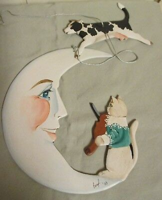 "Vintage Signed ""Beryl"" Wood Nursery Rhyme Hanging Mobile -Hey Diddle Diddle..."