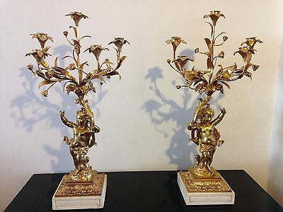 Beautiful Pair Bronze Ormolu Candelabras with Cherubs