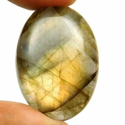 27.90 cts Natural Beautiful Flashing Labradorite Cabochon Oval Loose Gemstone