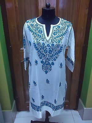 "100% Cotton Top Ethnic M 41"" Dress Tunic Chikan Embroidery Handmade Kurti Kurta"