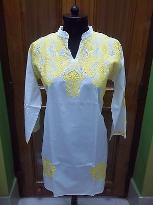 100% Cotton Top Blouse 3Xl 49 Ethnic Chikan Embroidery Floral Kurta Tunic Kurti