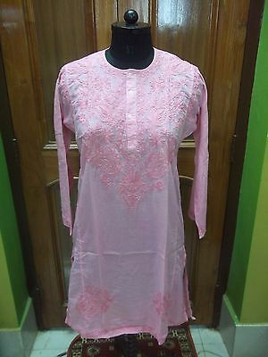Dress Xs 36 Ethnic Kurti 100% Malmal Cotton Handmade Chikan Embroidery Top Kurta