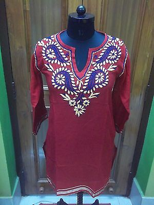 2Xs 35 Ethnic 100%malmal Cotton Top Kurta Chikan Handmade Embroidery Kurti Tunic