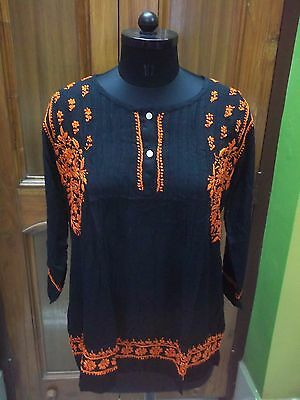 "Excellent M 40"" Rayon Tunic Top Kurta Kurti Ethnic Handmade Chikan Embroidery"