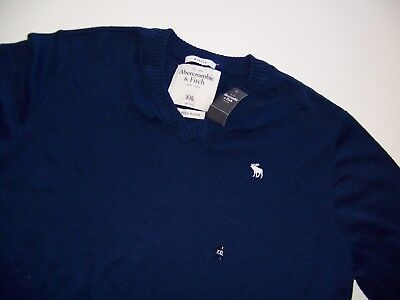 NWT Abercrombie & Fitch Muscle v-neck cashmere blend blue  sweater Mens XXL New