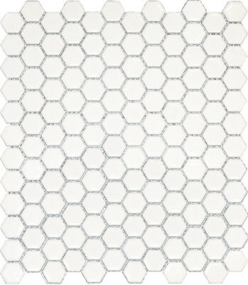 White Gloss Hexagon Mosaic 23mm Mosaic Tile Bathroom Kitchen Laundry Wall