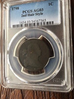 LARGE CENT 1798 PCGS AG03 2nd HAIR STYLE