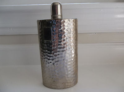 Vintage Silver Flask Tin Lined 12 ounce Curved Bottle Antique Made in Germany