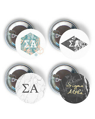 Sigma Alpha Marble Variety Pack of Buttons 2.25-inch