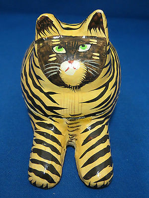 Tiger Tabby Cat Covered Trinket Box Hand Painted Wood Pet Lover Gift