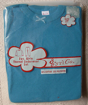 New 2 Piece Blue Size 2T Girls Thermal Underwear Set Long Johns Sealed Package