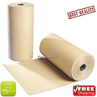 """10 10m x 600mm 24"""" 24  STRONG BROWN KRAFT WRAPPING PAPER 90gsm roll heavy duty"""