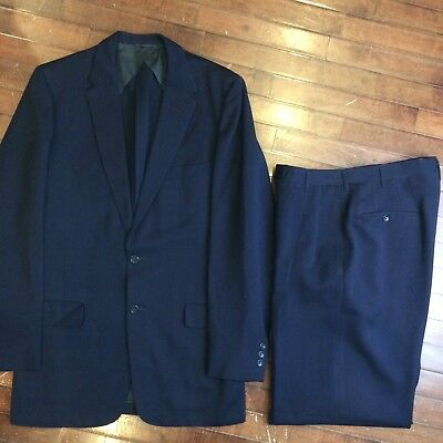 Robert Hall Vintage 50s Mens Blue Hollywood Gabardine 2 Button Mens 40 Suit