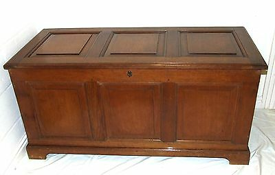 Large Antique Oak Panelled Coffer Blanket Box Chest Toy / Shoe Storage c1900