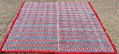 Antique 19th Century American 2 Piece Mid Seam Patriotic Red & Blue Bed Coverlet