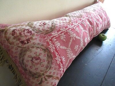 Antique Bolster Pillow Bed Bench Trunk Chest French Cotton Ticking Block Print