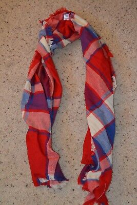 NWT Womens GAP Blue Red White Plaid Checkered Scarf One Size $27