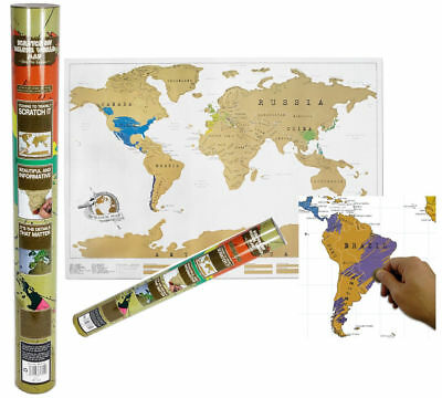 New Scratch Off World Map Poster Personalized Travel Vacation Personal Xmas Gift