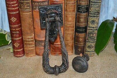 Antique English Black Cast Iron Door Knocker and Strike Plate