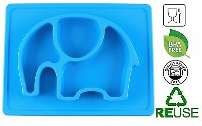 100% Food Safe, Non-Slip, Mini Sized Baby Silicone Placemat Plate for Kids Blue