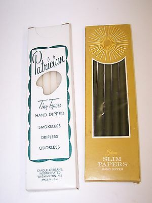 Lot/2 Boxes Hand Dipped Tiny Taper & Slim Taper Candles White (12) & Green (6)