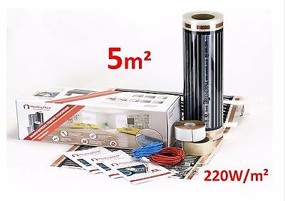 5 sqm Underfloor electric heating film KIT  220W/sqm under laminate, wood floor