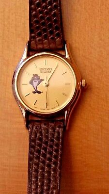 Collectible Ladies Seiko Charlie The Tuna Watch, Leather Band, New Battery