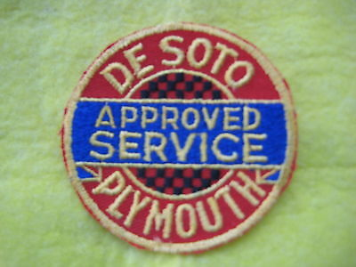"""Vintage Desoto Plymouth Approved  Service Racing Dealer Uniform  Patch 3 """" X 3"""""""