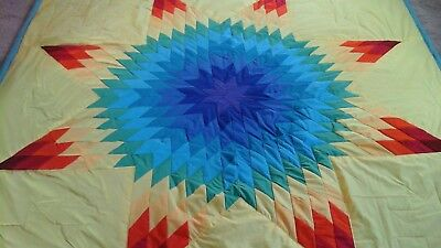 Multicolored star authentic Sioux native american Lakota star quilt Yellow