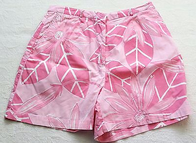 Lilly Pulitzer Shorts Pink Flowered Cotton Size 10 White