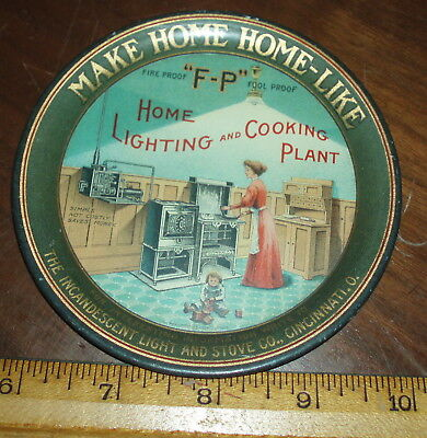 "Antique Tip Tray,Incandescent Light & Stove Co. Cincinnati,4 1/4"" dia,Beautiful"