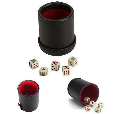 Dice Leather Cup With 5 Poker Dice Black/Cream Color Deluxe Leather Perfect Gift