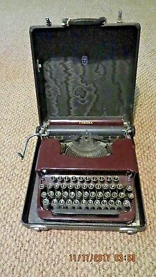 Antique Smith Corona Typewriter With Original Case and Key~Rare Burgundy Color!!