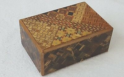 Vintage Inlaid Wood Japanese Trinket Puzzle Trick Secret Slide Box, Instructions