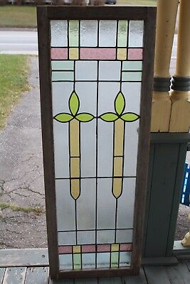 Antique  Stained  Leaded Glass Window  Architectural Arts And Crafts