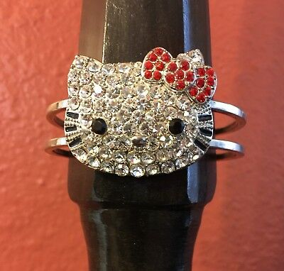 Hello Kitty Bling Silver Tone Cuff Bracelet With Red Bow