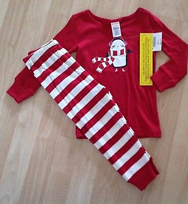GIRLS 18-24 MONTHS GYMBOREE OUTLET PENGUIN 2pc LONG PAJAMAS WINTER HOLIDAY NWT