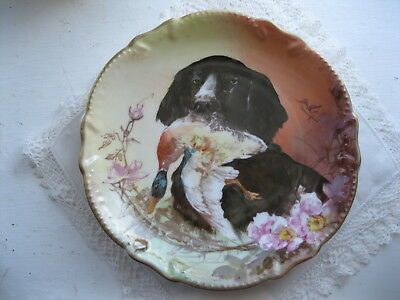 Antique Limoges France Plate Biarritz Hand Painted Spaniel Dog Mallard Signed